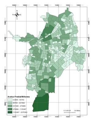 Distribución espacial de avalúo predial