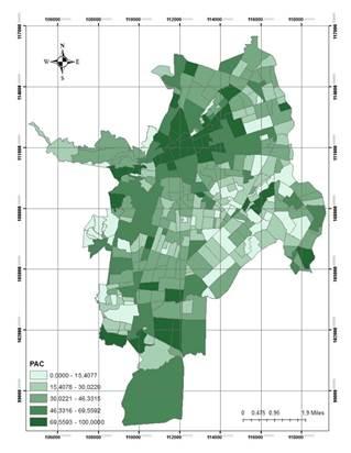Distribución de la proporción del área urbanizada con destino a comercio
