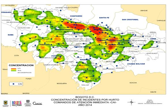 Mapa de concentración de hurto a personas, 2014
