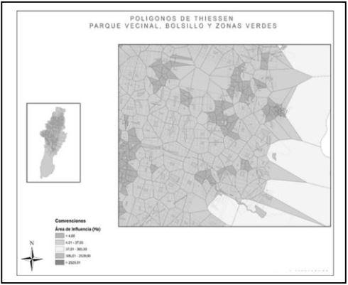Polígonos de Thiessen, parques vecinales, bolsillo y zonas verdes