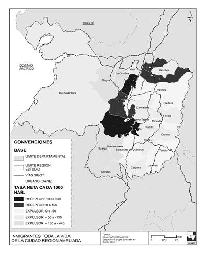 Municipios expulsores y receptores - Migrantes de toda la vida en el interior de la región