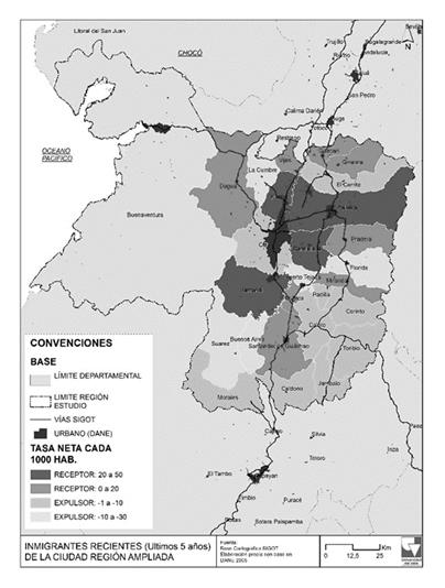 Municipios expulsores y receptores - Migrantes recientes en el interior de la región
