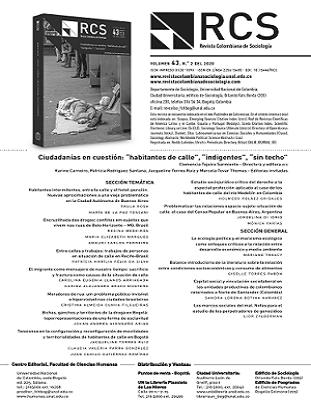 Revista Colombiana de Sociología - Vol. 43 Núm. 2 (2020): Ciudadanías en cuestión: 'habitantes de calle', 'indigentes', 'sin techo'